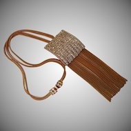 Vintage Hobe` Rhinestone and Tassel Necklace