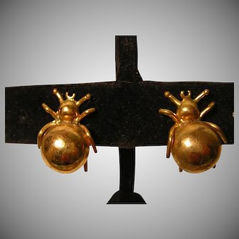 Vintage Spider Earrings Screw-back