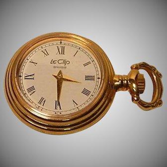 Vintage Le Clip Ladies Pocket Watch Swiss