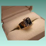 Vintage Emerald Cut Very Dark Blue Sapphire Ring