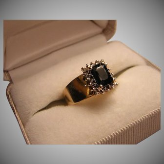 Vintage Emerald Cut Very Dark Blue Sapphire Ring