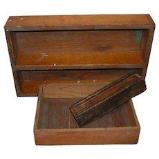 Three Primitive Wooden Boxes