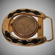 Vintage Coin Belt Buckle 1970's-1980's
