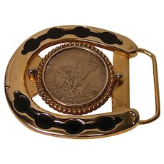 Vintage Coin Belt Buckle 1970's-1980's
