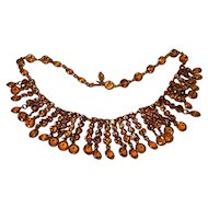 Vintage Amber and Topaz Rhinestone Drippy Necklace 1960's