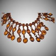 Vintage Amber and Topaz Drippy Rhinestone Bracelet 1960's