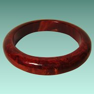 Vintage Mahogany Marbled Bakelite Bangle
