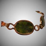 Vintage Semi-translucent Jade Bracelet 14k Yellow Gold