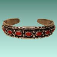 Vintage Navajo Coral Bracelet E. Carviso