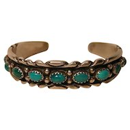 Vintage Navajo Turquoise Bracelet W. Carviso Jr.