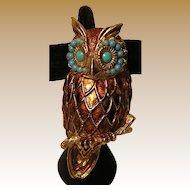 Large Vintage Owl Brooch / Pendant