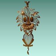 Vintage Articulated Lion Pendant Necklace