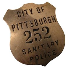 Vintage Police Badge 'Sanitary Police' City of Pittsburgh