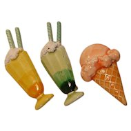 Vintage Pins by JJ Ice Cream Sodas and an Ice Cream Cone