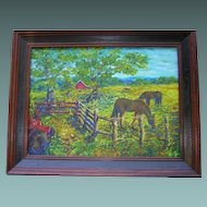 ART by Josty Impressionistic Local Farm Scene with Horses
