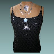 Vintage Little Black Dress with Sequines and Lace