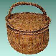 Vintage Lidded Hand Woven Basket
