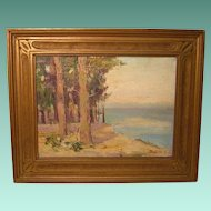 Small Plein Air Painting in Art Nouveau Style Frame