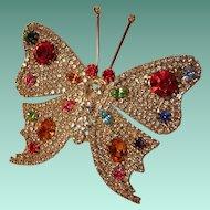 Large Vintage Rhinestone Butterfly Brooch