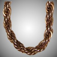 Vintage Rope Chain Bracelet in 925 Sterling with 14k Gold 13.8 Grams Total