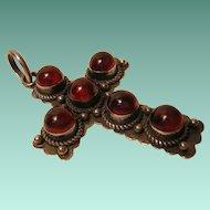 Vintage Cherry Amber Cross Pendant