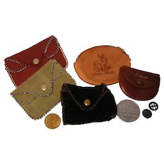 Collection of Vintage Coin and Token Purses with Tokens