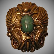 Vintage Egyptian Style Pin / Brooch with Green Glass Scarab