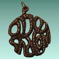 "Vintage Brass Medallion Style Pendant ""Ove Shalom"""