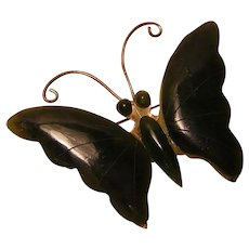 Vintage Green Stone Butterfly Pin