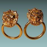 Vintage Door Knocker Lion Head Earrings