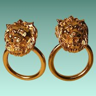 Vintage Door Knocker Lion Head Earrings