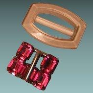 Vintage Glass Belt Buckles