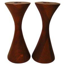 Vintage Mid-Century Custom Made Walnut Candlesticks