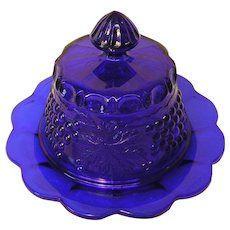 Vintage Cobalt Blue Glass Covered Cheese Dish