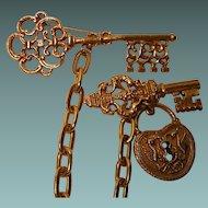 Vintage Large Lock and Key Brooch Set Signed ART