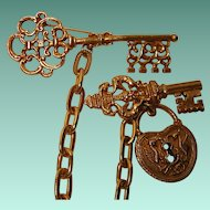 Vintage Large Lock and Key Brooch Set Signed ART