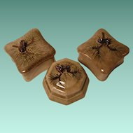 Vintage Dresser Boxes with Pine Cone Design