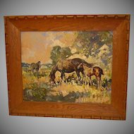 Leslie Cope Impressionist Painting of Horses, Oil on Masonite
