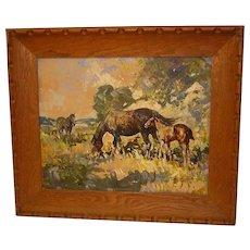 Leslie Cope Impressionist Painting of Horses, Oil on Masonite