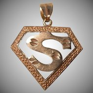 Vintage Sterling Silver Superman Style 'S' Pendant 4.6 Grams