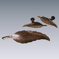 Vintage Sterling Feather Set by Jewel Art