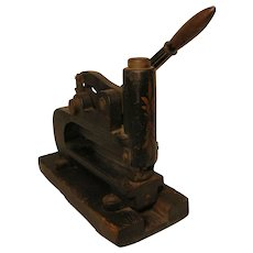 Antique Iron Office Hole Punch with Tole Painting