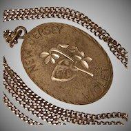 Vintage Pewter Pendant Necklace New Jersey Violet
