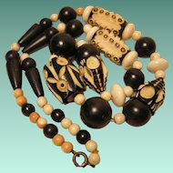 Art Deco Carved Celluloid Beaded Necklace