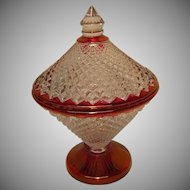 Vintage Westmoreland Glass Covered Dish with Cranberry or Ruby Flash