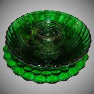 Vintage Emerald Green Glass Items, Serving Platter, Serving Bowl and Votive Candle Holder