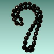 Vintage Black Faceted Glass Beaded Necklace