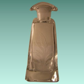 Vintage Etched Decanter with Double Spout (no Stopper)