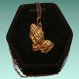 Vintage Gold Filled Praying Hands Pendant on Bonus Chain