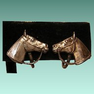 Vintage Sterling Horse Head Screw-back Earrings